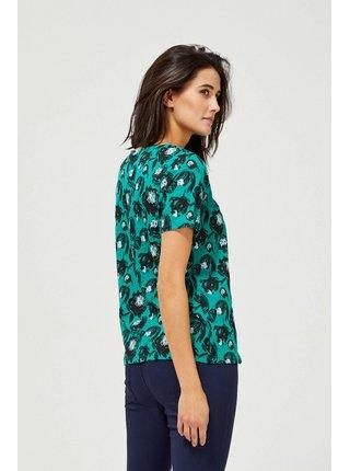 Moodo petrolejové tričko s kvetinovým motívom