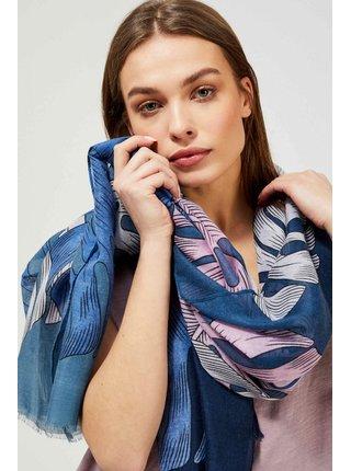 Moodo modro-růžový šátek s listy