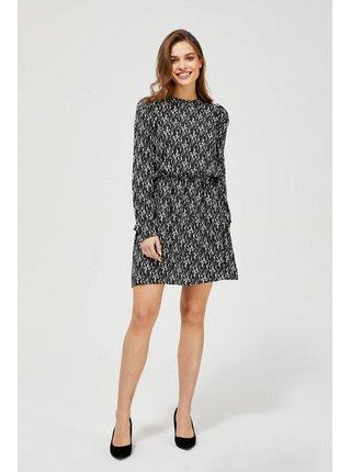 Moodo čierne šaty s drobným vzorom