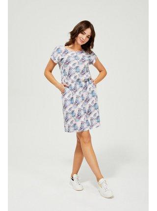 Moodo biele šaty s tropickými motívmi
