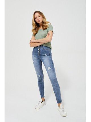 Moodo modré džínsy s vysokým pasem