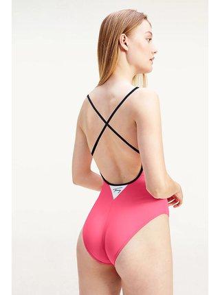 Tommy Hilfiger růžové jednodílné plavky Cheeky One-piece s logem
