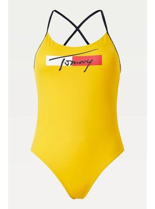 Tommy Hilfiger žluté jednodílné plavky Cheeky One-piece s logem