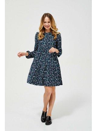 Moodo modré áčkové šaty so vzormi