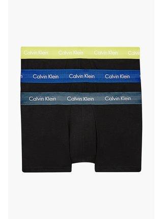 Calvin Klein černý 3 pack boxerek Low Rise Trunk 3PK Black w. Hemisphere Blue/Direct Green/Blue Flannel WB
