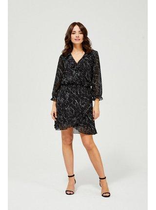 Moodo černé šaty s drobným vzorem