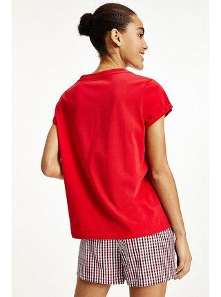 Tommy Hilfiger červené dámske pyžamo SS Wowen Short set s logom