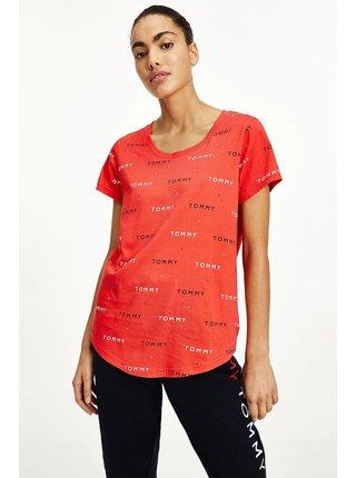 Tommy Hilfiger červené dámské tričko s nápisy SS Tee Print