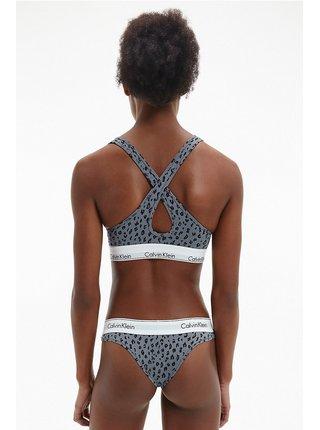 Calvin Klein sivá podprsenka Lift Bralette s leopardím vzorom