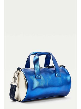 Tommy Hilfiger metalicky modrá oválna taška Heritage Mini Duffle Metalic