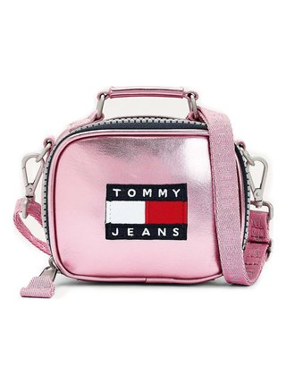 Tommy Hilfiger metalicky růžová malá crossbody kabelka TJW Heritage Nano Bag