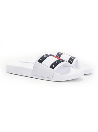 Tommy Hilfiger biele pánske šľapky Tommy Jeans Flag Pool Slide