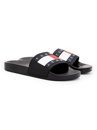 Tommy Hilfiger čierne pánske šľapky Tommy Jeans Flag Pool Slide