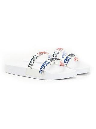 Tommy Hilfiger biele šľapky Double Strap Pool Slide