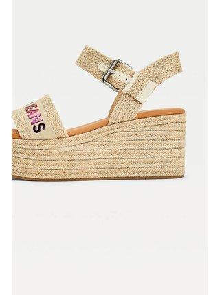 Tommy Hilfiger béžové topánky na kline Rainbow Branding Flatform Sandal