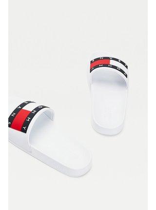 Tommy Hilfiger bílé pantofle Tommy Jeans Flag Pool Slide