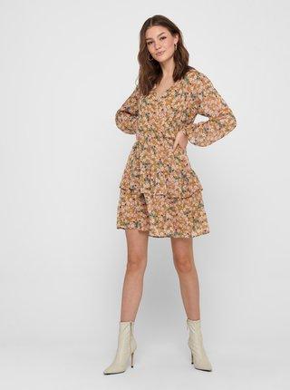 Světle hnědé květované šaty Jacqueline de Yong Penelope