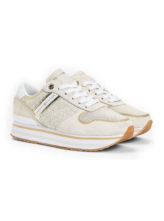 Tommy Hilfiger béžové tenisky na platforme Metallic Flatform Sneaker