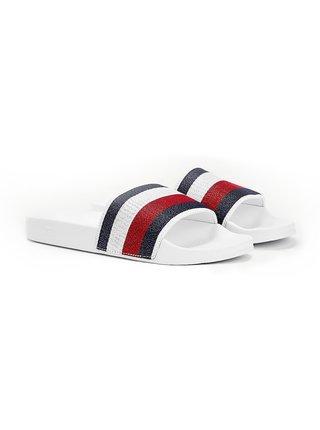Tommy Hilfiger biele šľapky Shimmery Ribbon Pool Slide