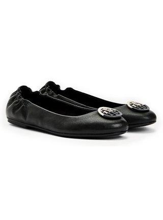 Tommy Hilfiger černé kožené baleríny Basic Leather Ballerina