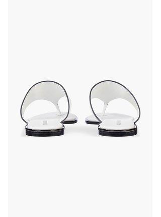 Calvin Klein biele kožené žabky Flat Sandal Toe Slide s flitrami na špičke