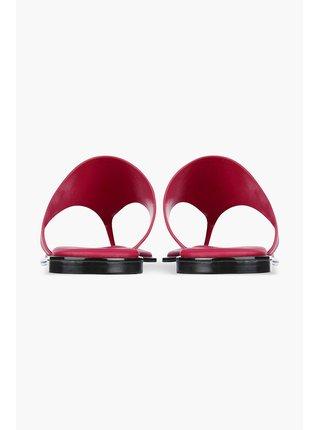 Calvin Klein fuchsiové kožené žabky Flat Sandal Toe Slide