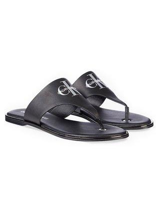 Calvin Klein černé kožené žabky Flat Sandal Toe Slide