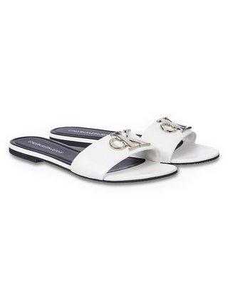 Calvin Klein biele kožené šľapky Flat Sandal Slide
