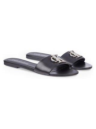 Calvin Klein čierne kožené šľapky Flat Sandal