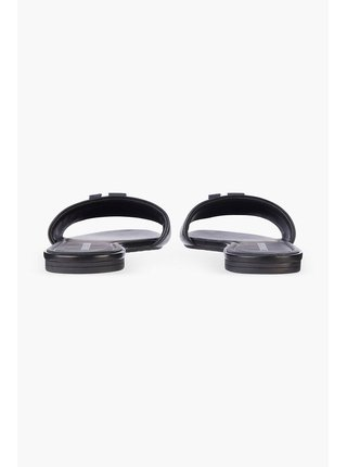 Calvin Klein černé kožené pantofle Flat Sandal
