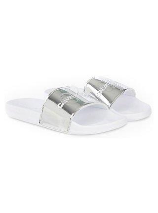 Calvin Klein bílo-stříbrné pantofle Slide Specchio