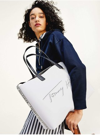 Tommy Hilfiger biele kabelka Iconic Tommy Tote Signature Bright White