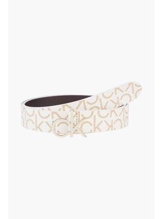 Calvin Klein smetanový pásek CK Logo Belt