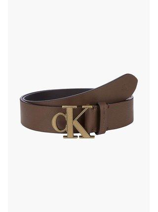 Calvin Klein hnedé kožený pánsky opasok Mono Plaque Belt