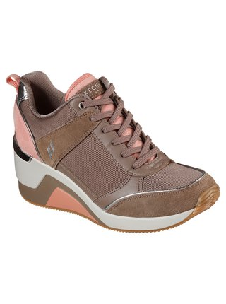 Skechers starorůžové tenisky na platformě Million High N Fly Taupe