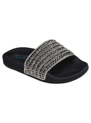 Skechers černé pantofle Pop Ups Black Canvas