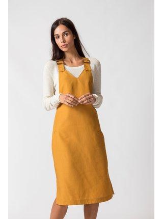 SKFK horčicové šaty Malena s laclem