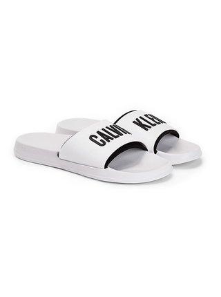 Calvin Klein bílé unisex pantofle Slide