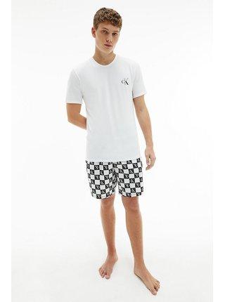 Calvin Klein bílo-černé pánské pyžamo S/S Short Set