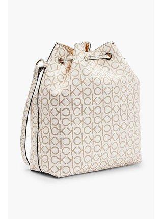 Calvin Klein smotanové/krémové sťahovací vak Drawstring Bucket Bag Monogram