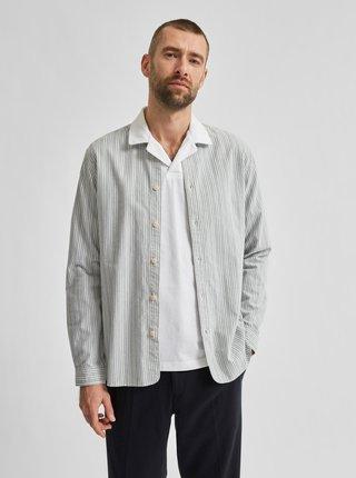 Světle šedá pruhovaná košile Selected Homme Milton