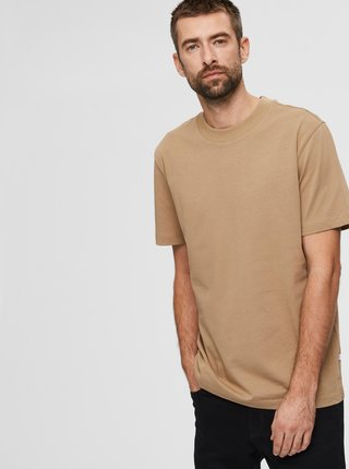 Béžové basic tričko Selected Homme Relax