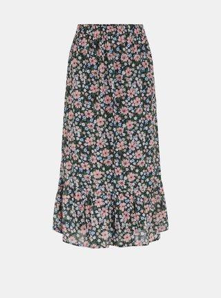 Černá květovaná midi sukně Pieces Viana