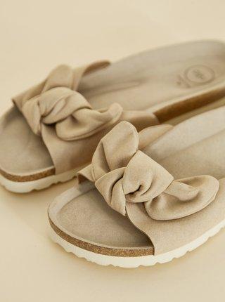 Béžové dámské pantofle v semišové úpravě OJJU