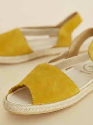 Horčicové dámske semišové sandále OJJU