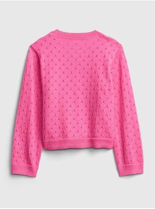 Detský sveter pointelle cardigan Ružová