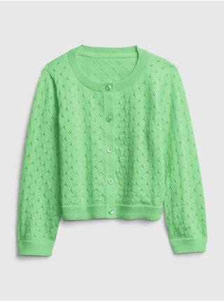Zelený holčičí dětský svetr pointelle cardigan