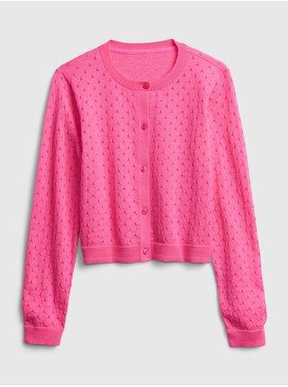 Růžový holčičí dětský svetr knit cardigan