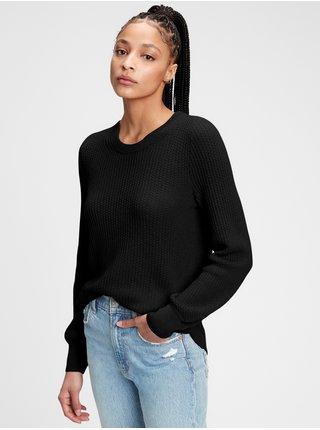Sveter textured crewneck sweater Čierna