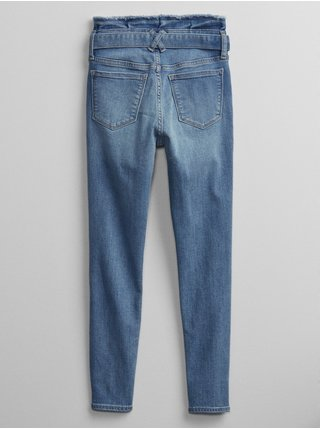 Modré holčičí dětské džíny jegging v-hr tie waist